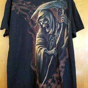 Men's Black Grim Reaper Skeleton Gothic T Shirt XL